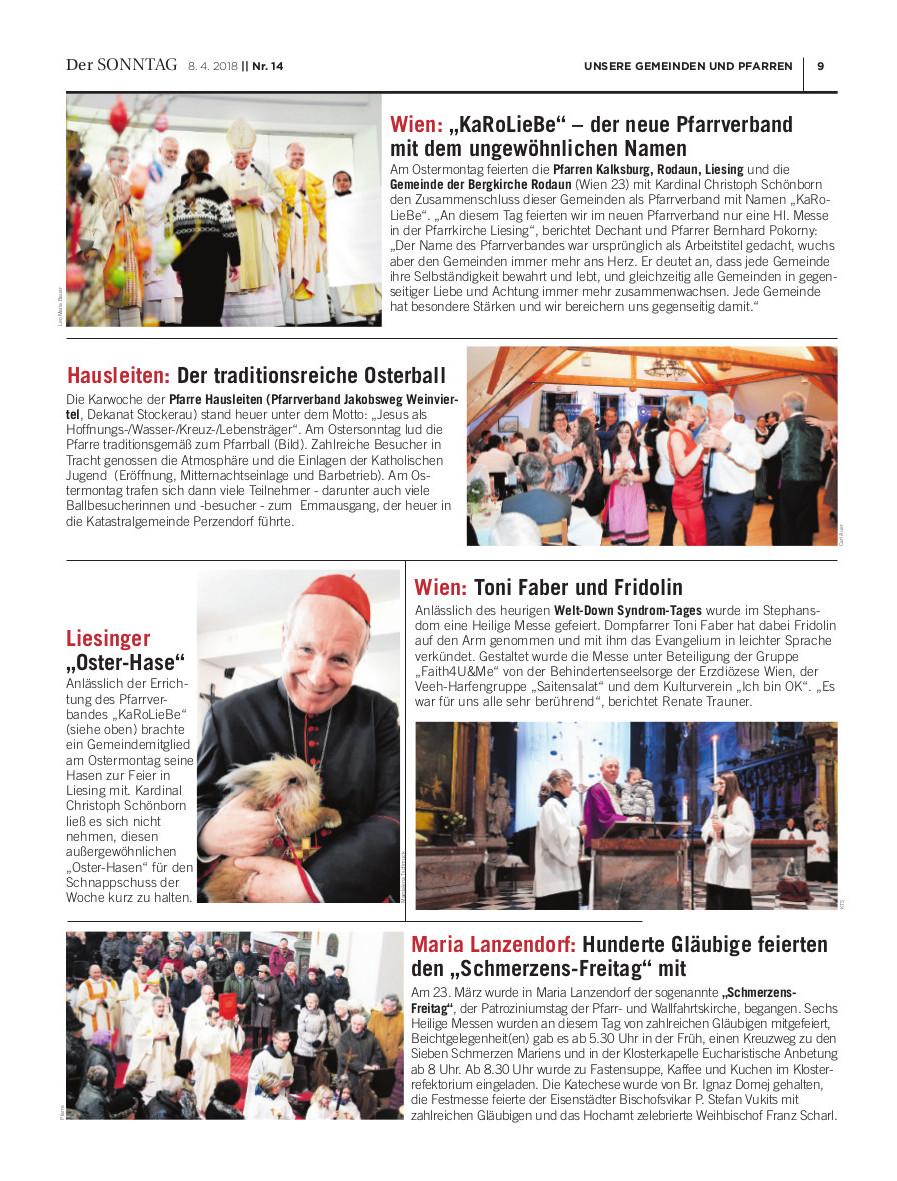 """""""Der Sonntag"""" berichtet über die feierliche Errichtung unseres Pfarrverbandes KaRoLieBe"""