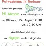 Einladung zum Patrozinium in Rodaun am 15.8.2018