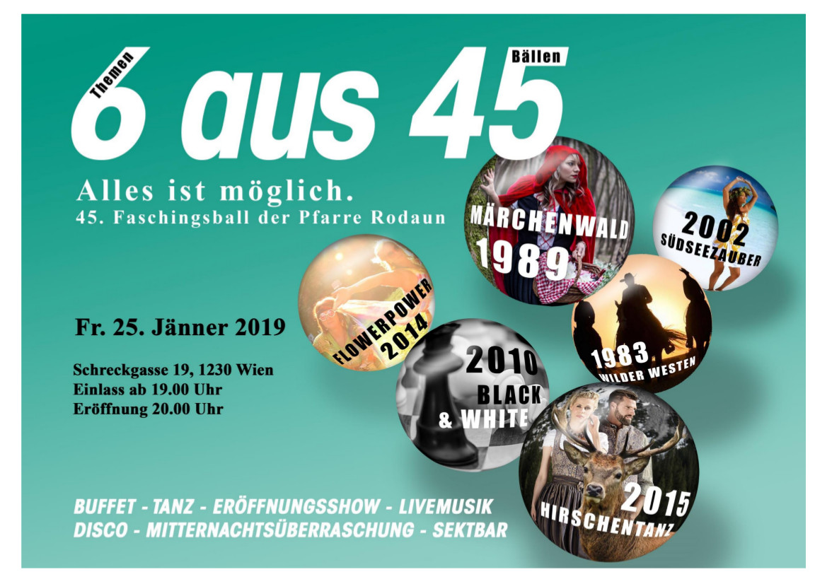 Einladung zum 45. Faschingsball der Pfarre Rodaun am 25. Jänner