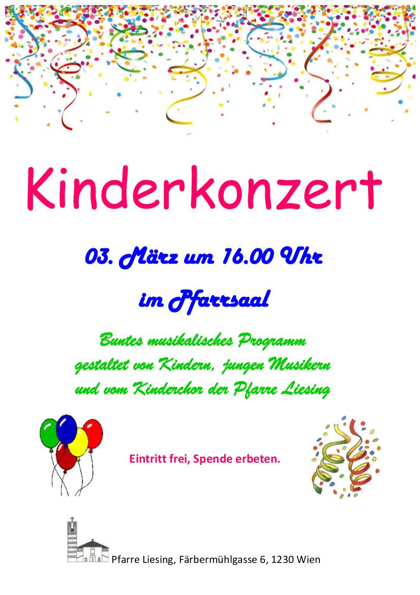 Einladung zum Kinderkonzert am 3. März um 16.00 im Pfarrsaal