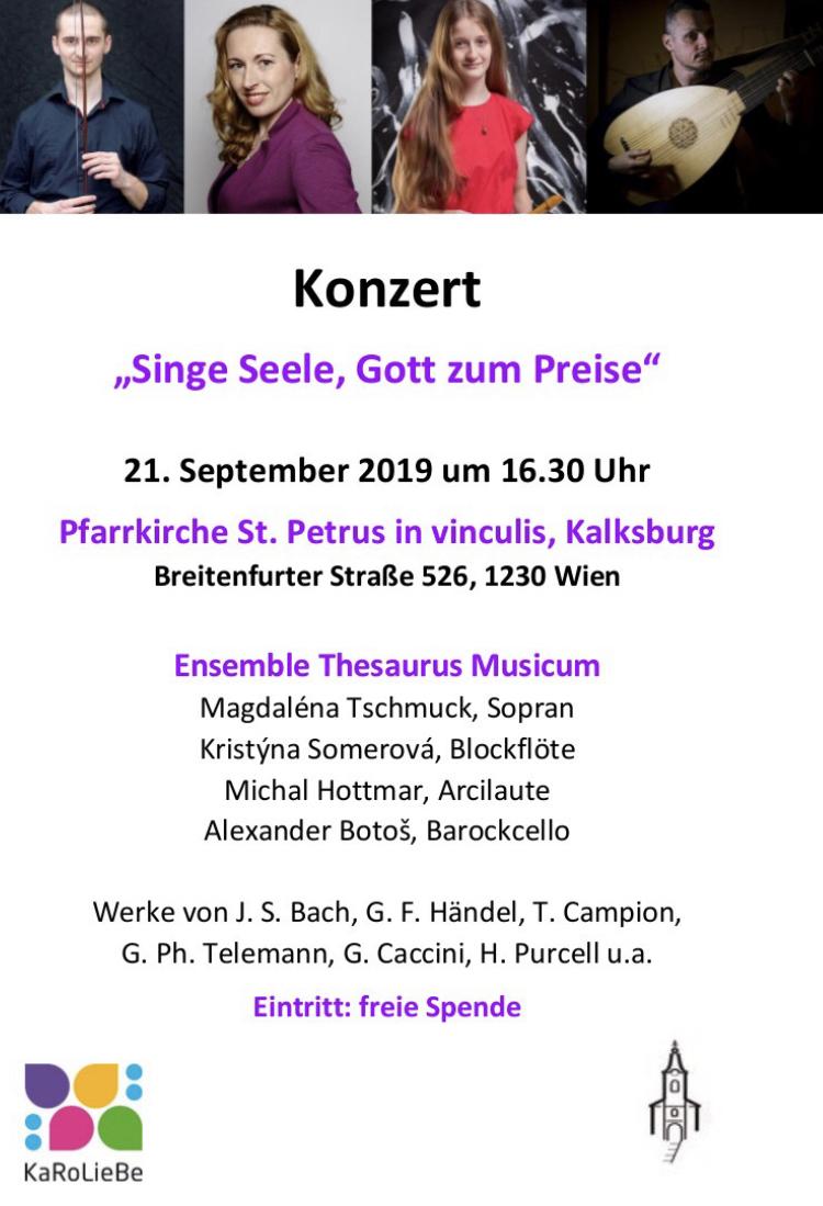 KaRoLieBe-Konzert – Singe Seele, Gott zum Preise – am 21. September 2019 um 16.30 Uhr