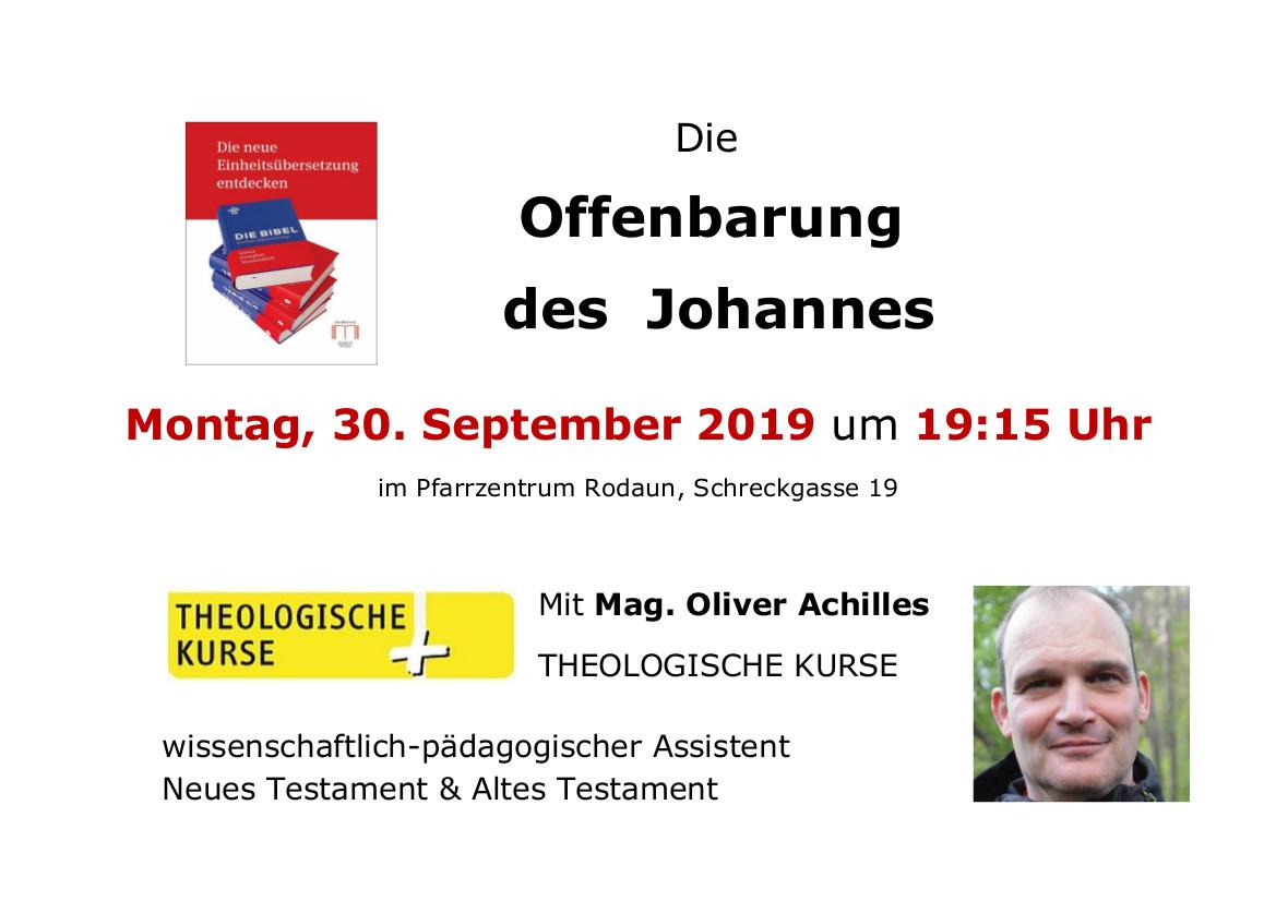 """Einladung zum Vortrag """"Die Offenbarung des Johannes"""" am 30. September um 19.15 Uhr in der Pfarre Rodaun"""