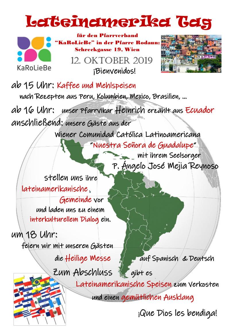 Lateinamerika Tag mit unserem Pfarrvikar Heinrich am 12. Oktober ab 15.00 Uhr in der Pfarre Rodaun