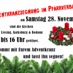 Einladung zur Adventkranzsegnung am Samstag den 28. November