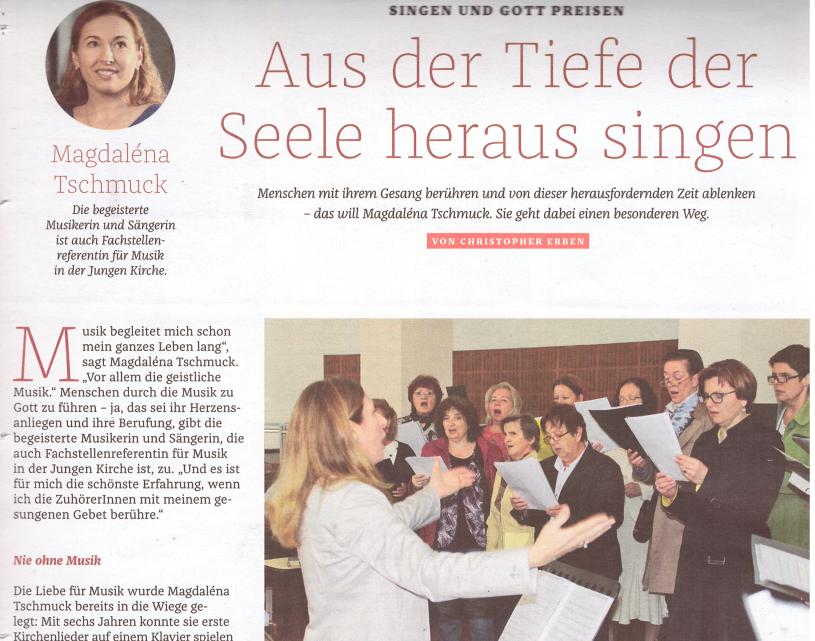 """Aus der Tiefe der Seele heraus singen – ein Beitrag in der letzten Ausgabe von """"Der Sonntag"""""""