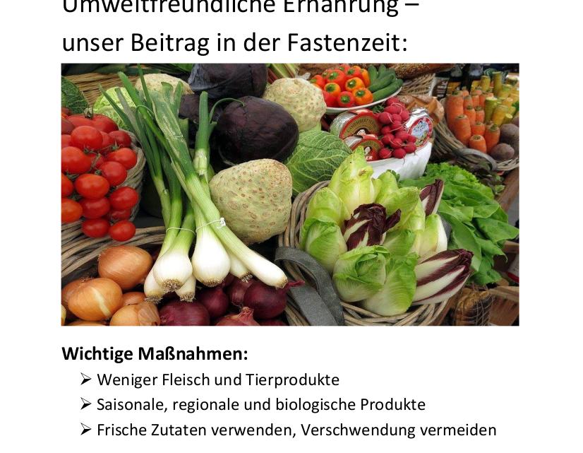 Umweltfreundliche Ernährung – unser Beitrag in der Fastenzeit